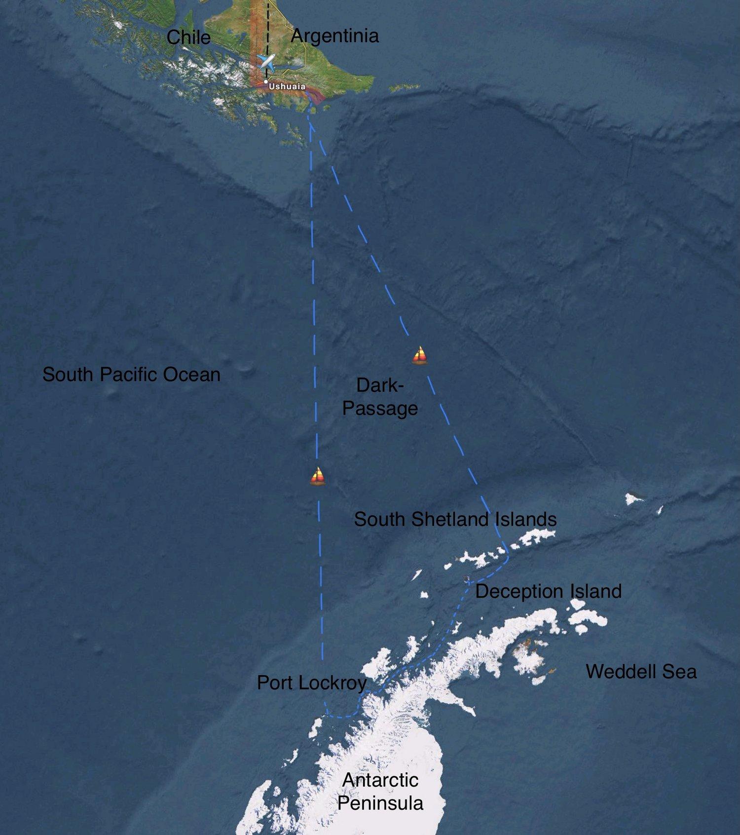 Die blauen Linien sind die warscheinlichen Schiffs-Routen, die durch Wind, Wetter, Seegang und Packeis vor Ort noch umgeändert werden können.