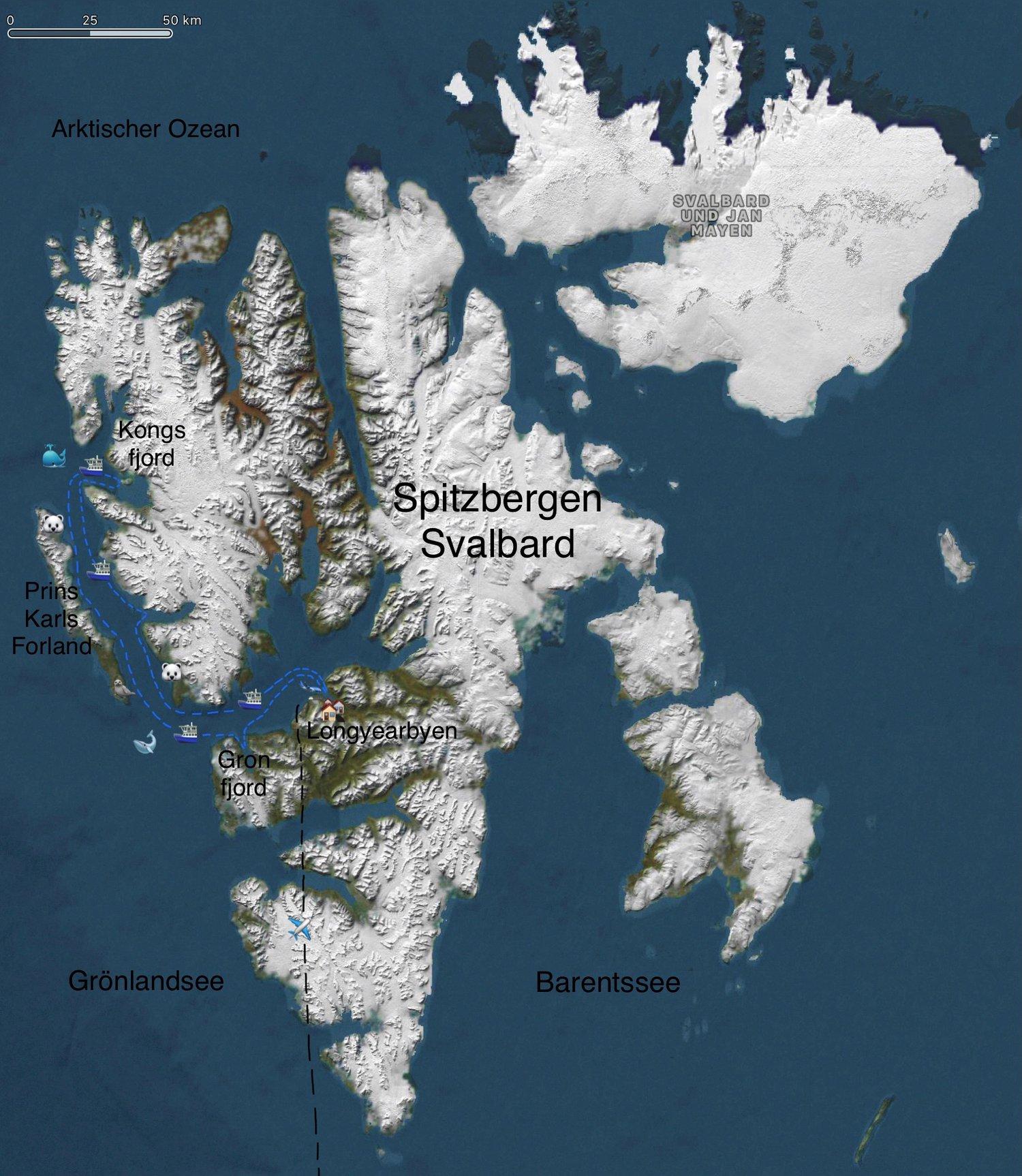 Die blauen Linien sind die wahrscheinlichen Schiffs-Routen, die durch Wind, Wetter, Seegang, Packeis und Eisbären- Situation vor Ort noch umgeändert werden können.