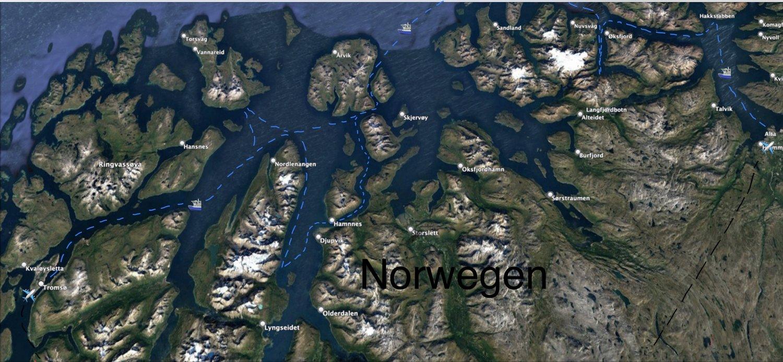 Die blauen Linien sind die wahrscheinlichen Schiffs-Routen, die durch Wind, Wetter und Seegang vor Ort noch umgeändert werden können.